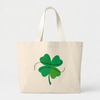 Shamrock with Irish Toast Large Tote Bag