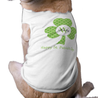 Shamrock with Polka dots and custom Monogram dog Shirt