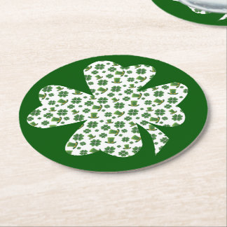 Shamrocks and Top Hats 2 Round Paper Coaster