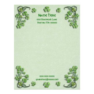 Shamrocks Green Faux Parchment Letterhead