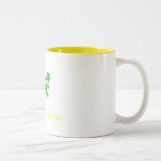 shamrocks, Happy St. Patrick's Day Two-Tone Coffee Mug