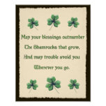 Shamrocks Irish Blessing Poster