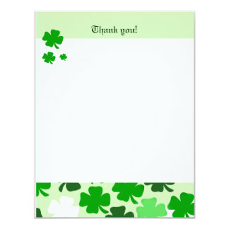 "SHAMROCKS St Patricks day 4x5 Flat Thank you note 4.25"" X 5.5"" Invitation Card"