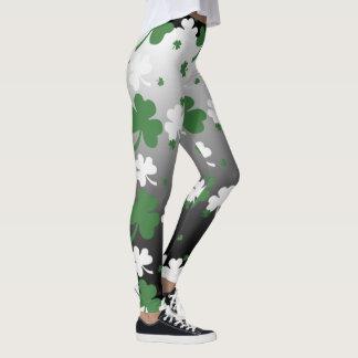 Shamrocks, vert et blanc sur le champ gradué leggings