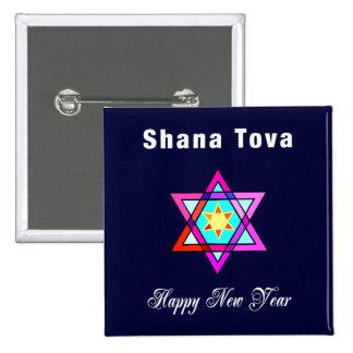 Shana Tova Jewish Star 2 Inch Square Button