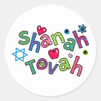 Shanah Tovah Jewish New Year Text Greeting Classic Round Sticker