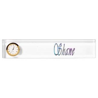 Shane, Name, Logo, Desk Name Pate With Clock. Name Plate