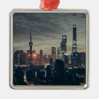Shanghai by Night Silver-Colored Square Ornament