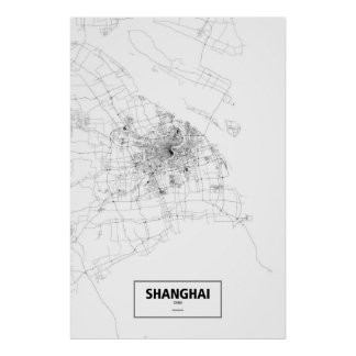 Shanghai, China (black on white) Poster