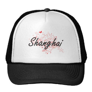 Shanghai China City Artistic design with butterfli Trucker Hat