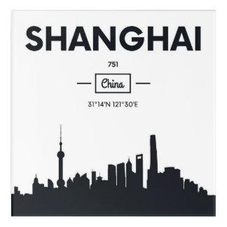 Shanghai, China   City Coordinates Acrylic Wall Art