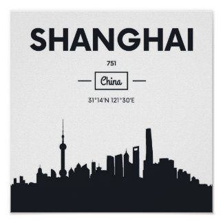 Shanghai, China   City Coordinates Poster