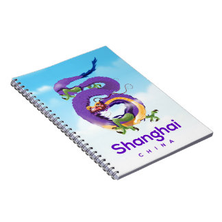 Shanghai China Dragon travel poster Notebook