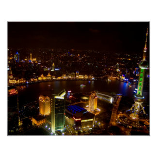 Shanghai China wonderful skyline with modern Poster