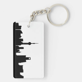 shanghai city skyline silhouette china keychain