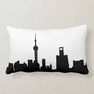 shanghai city skyline silhouette china lumbar pillow
