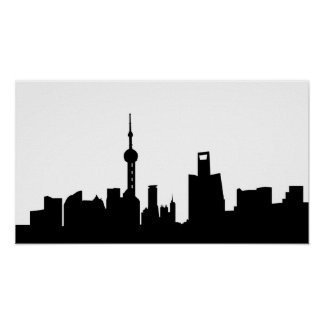 shanghai city skyline silhouette china poster