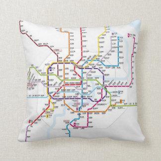 Shanghai Metro Map Throw Pillow