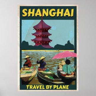 Shanghai old vintage travel poster print