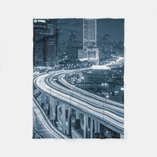 Shanghai Overpass 1 fleece blanket