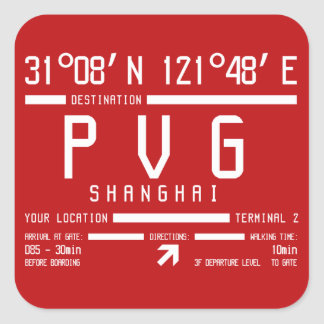 Shanghai Pudong International Airport PVG Square Sticker