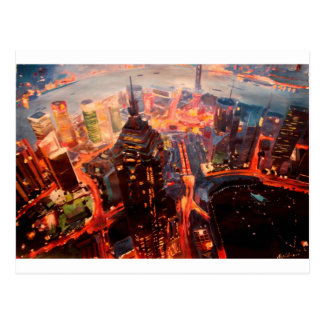 Shanghai Skyline At Dusk With Yangtze Postcard