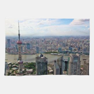 Shanghai Skyline by Day Kitchen Towel