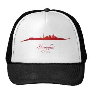 Shanghai skyline in network trucker hat