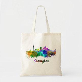 Shanghai skyline in watercolor tote bag