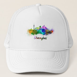 Shanghai skyline in watercolor trucker hat