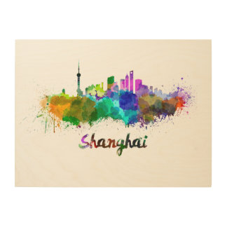Shanghai skyline in watercolor wood wall art