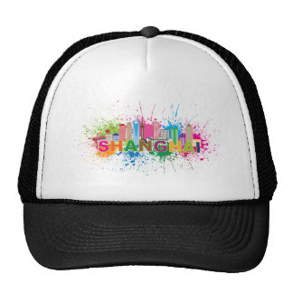 Shanghai Skyline Paint Splatter Illustration Trucker Hat
