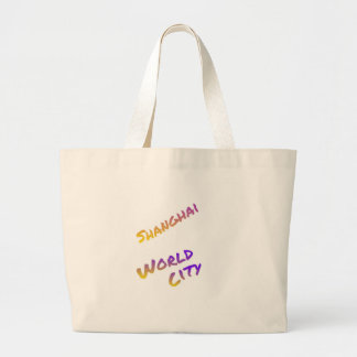 Shanghai world city, colorful text art large tote bag