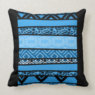 Shango Blue Tribal Design Throw Pillow