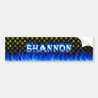 Shannon blue fire and flames bumper sticker design