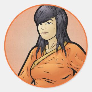 Shaolin Monk -- Female Round Sticker