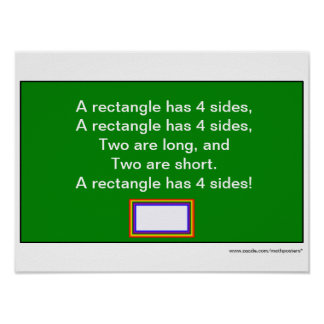 Shape Song: A rectangle has 4 sides Poster