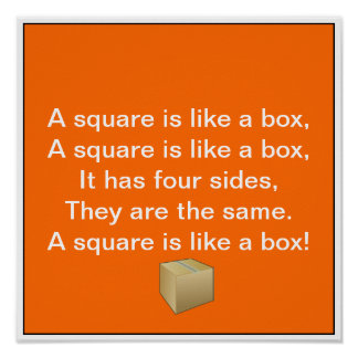 Shape Song: A square is like a box Print