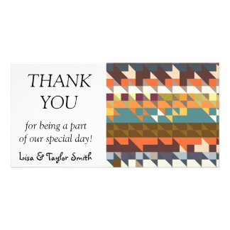 Shapes in retro colors abstract design photo card template