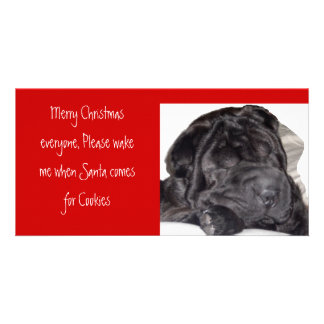 Shar pei Christmas -Please wake... Photo Cards