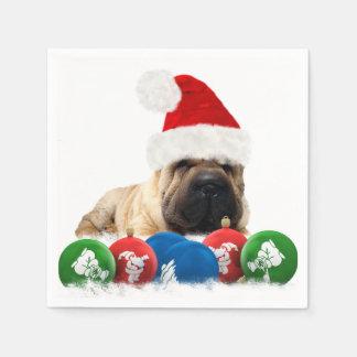 Shar Pei Dog White Paper Napkins, Standard Edges Disposable Napkin