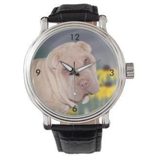 Shar Pei face Wristwatches
