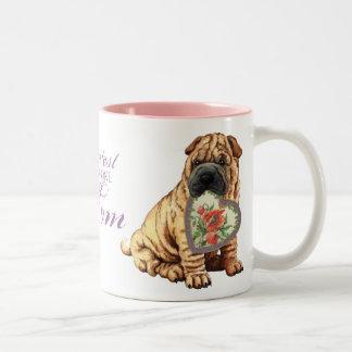 Shar-Pei Heart Mom Two-Tone Coffee Mug