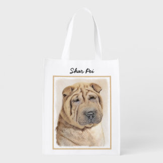 Shar Pei Painting - Cute Original Dog Art Reusable Grocery Bag