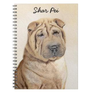 Shar Pei Painting - Cute Original Dog Art Spiral Notebook