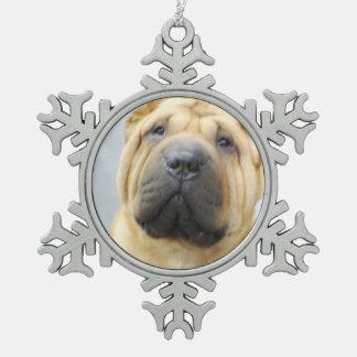 Shar Pei Pewter Snowflake Ornament