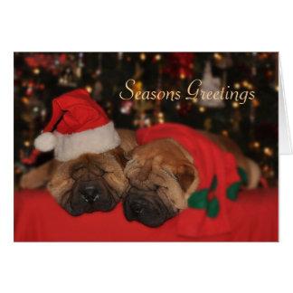 Shar Pei Sleepy Christmas card