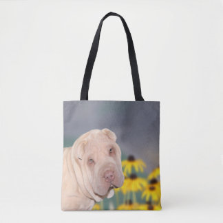 Shar Pei with flowers Tote Bag