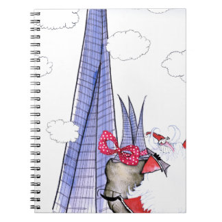 ShardArt Xmas Santa by Tony Fernandes Spiral Notebook