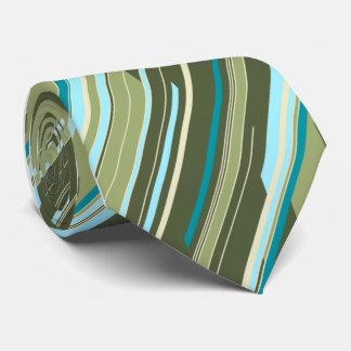 Shards Geometric Striped Green Single-sided Tie